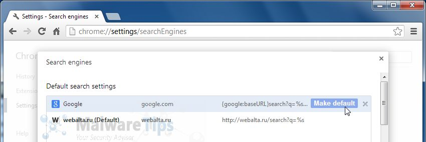 [Image: Webalta.ru Search Chrome redirect]