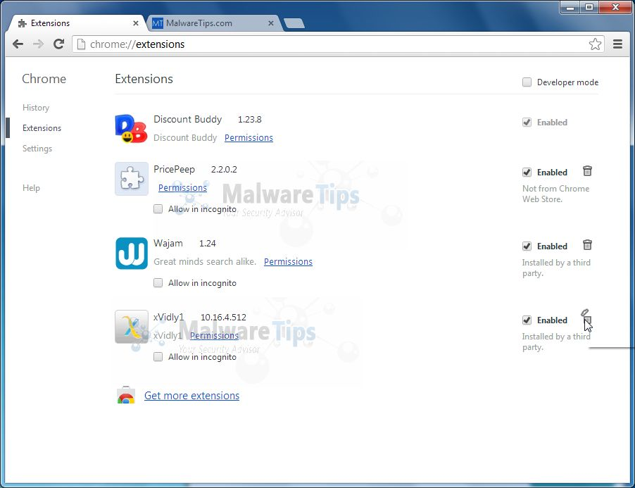 [Image: Xvidly Toolbar Chrome extension]