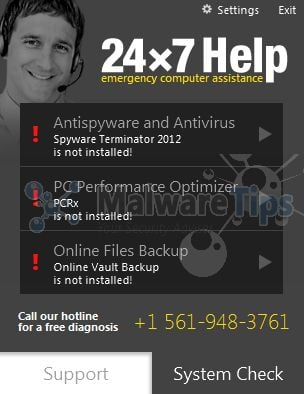 [Image: 24x7 Help pop-up virus]