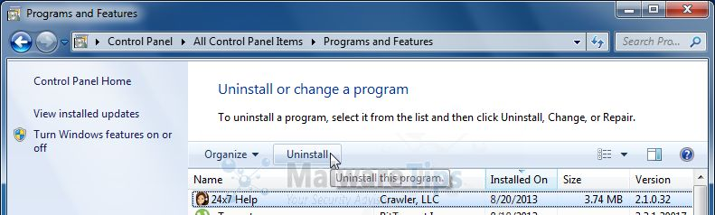 [Image: Uninstall 24x7 Help programs from Windows]