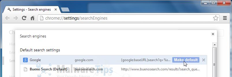 [Image: Bueno Search Chrome redirect]