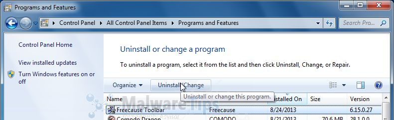 [Image: Uninstall Freecause Toolbar from Windows]