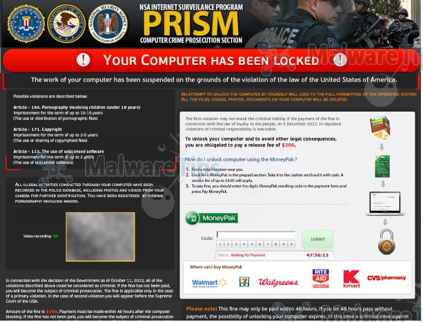 NSA Internet Surveillance Program MoneyPak virus
