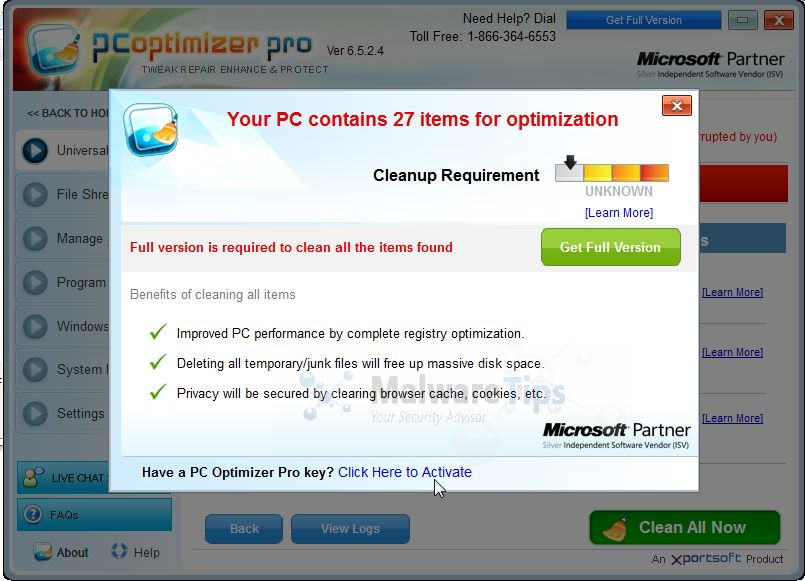 [Image: PC Optimizer Pro fake registry cleaner]