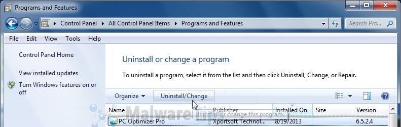 [Image: Uninstall PC Optimizer Pro program from Windows]