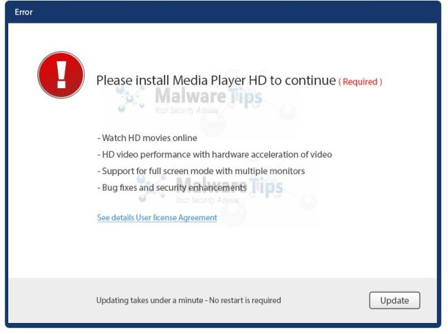 Please Install Media HD Player to Continue virus