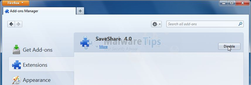 [Image: SaveShare Firefox Extension]