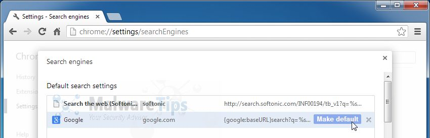 [Image: Softonic Web Search Chrome hijack]