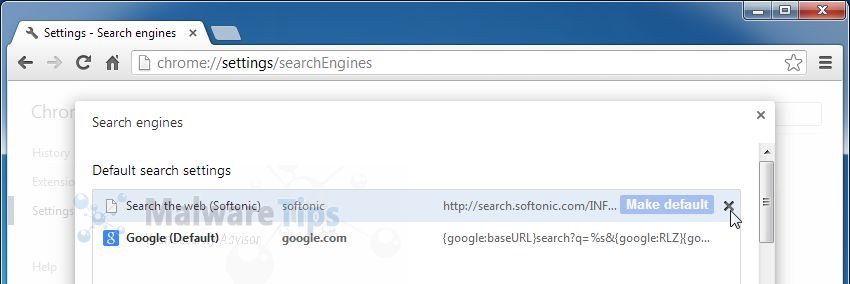 [Image: Softonic Web Search Chrome removal]