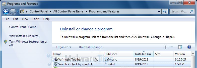 [Image: Uninstall VAF Toolbar from Windows]
