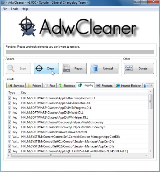 [Image: AdwCleaner removing infections]