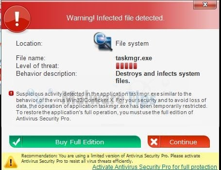 Antivirus security pro is a scam and you should ignore any alerts