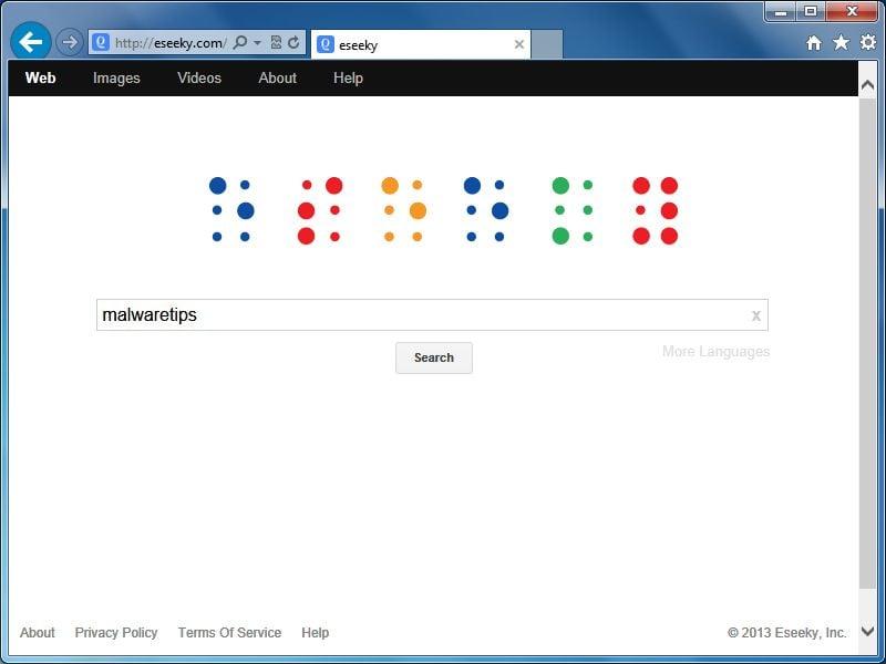 [Image: Eseeky.com homepage virus]
