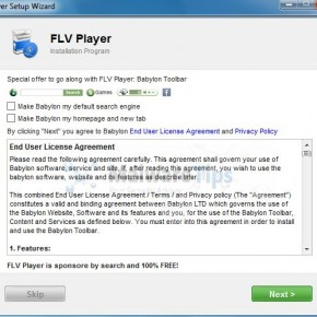 [Image: FLV Player browser hijacker]