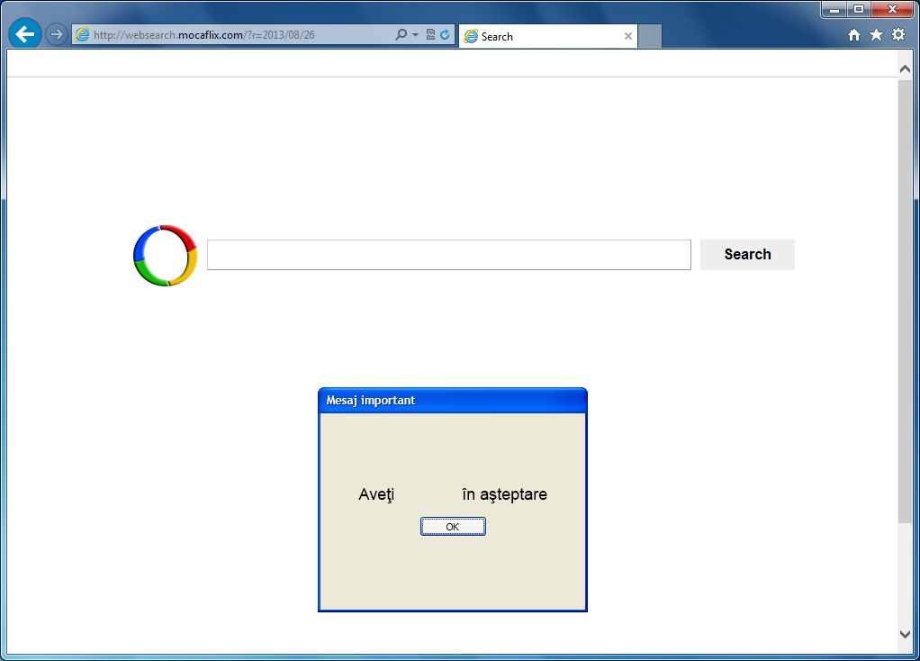 [Image: websearch.mocaflix.com homepage]
