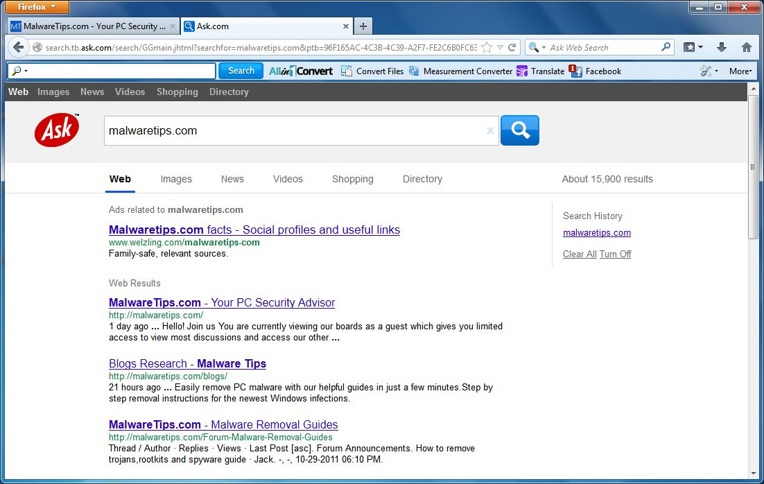 [Image: Allin1Convert Toolbar Ask.com Search]