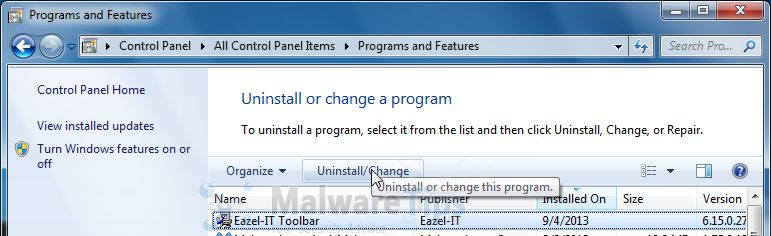 [Image: Uninstall Eazel Toolbar from Windows]