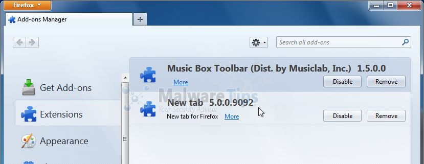 [Image: Music Box Toolbar Firefox extension]