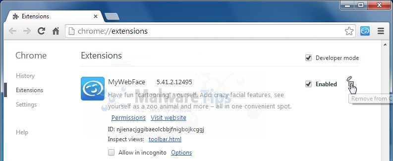 Remove MyWebFace Toolbar from Google Chrome