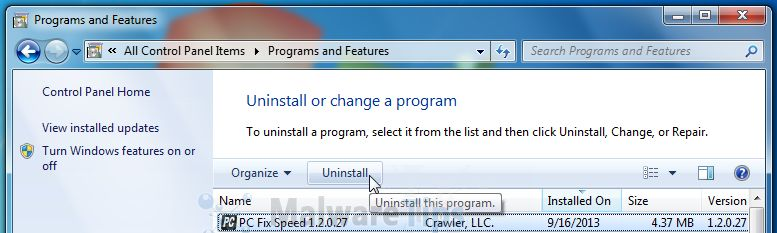 [Image: Uninstall PC Fix Speed program from Windows]