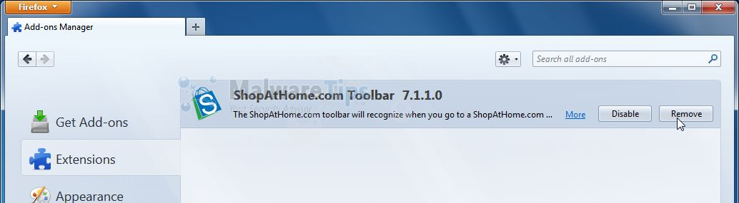 [Image: ShopAtHome.com toolbar Firefox Extension]