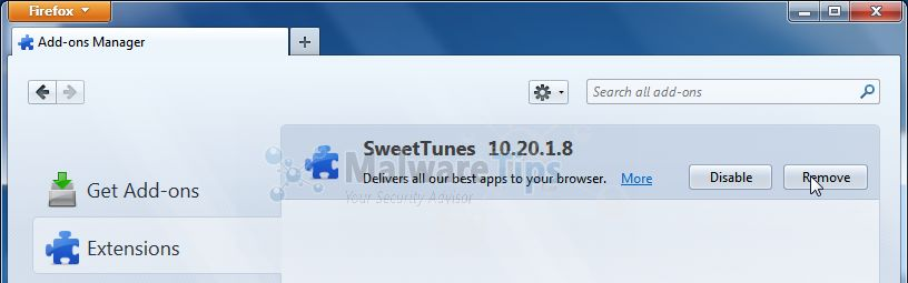 [Image: SweetTunes Toolbar Firefox extension]