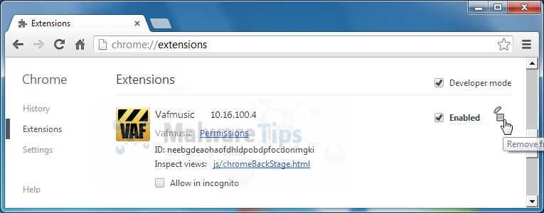 [Image: VAFMusic Toolbar Chrome extension]