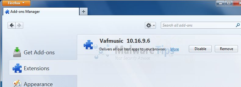 [Image: VAFMusic Toolbar Firefox extension]