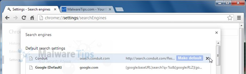 [Image: Vuze Remote Customized Web Search Chrome removal]