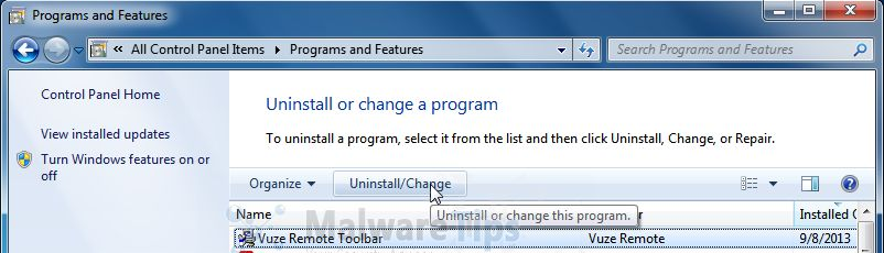 [Image: Uninstall Vuze Toolbar from Windows]