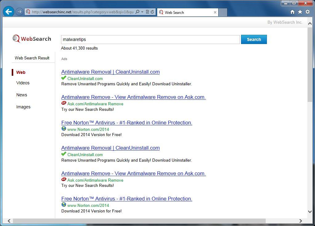 [Image: Websearchinc.net redirect]