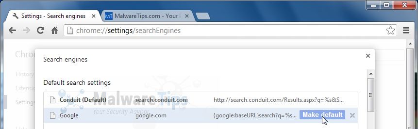 [Image: Conduit Search in Google Chrome]