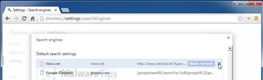 Change Google Chrome homepage from News.net to its default .