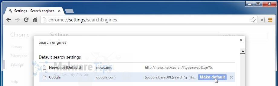 [Image: News.net Chrome redirect]