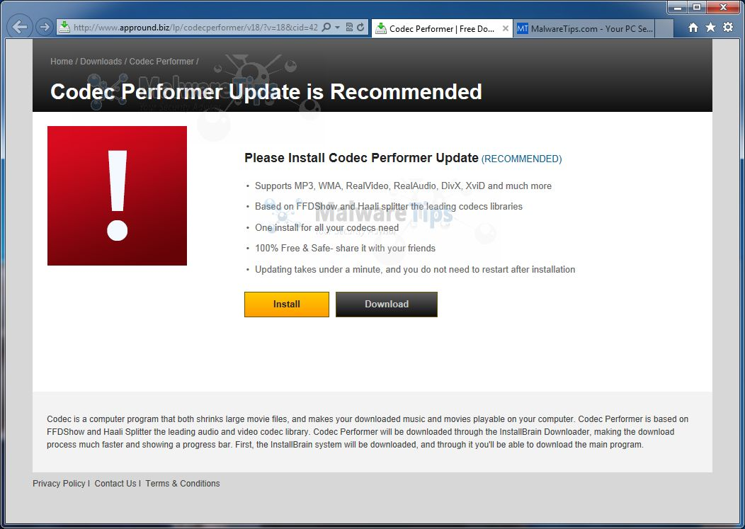 [Image: Please Install Codec Performer Update virus]