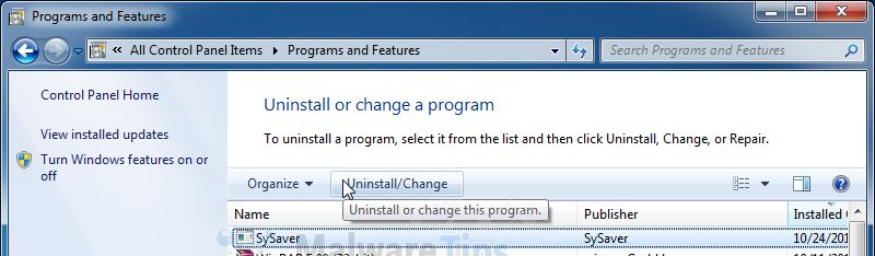 [Image: Uninstall SySaver program from Windows]