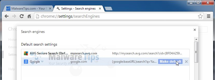 [Image: AVG SafeGuard Toolbar Chrome redirect]
