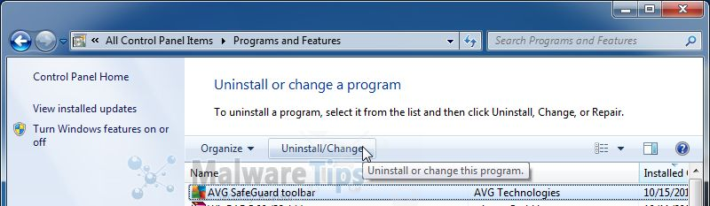 [Image: Uninstall the AVG SafeGuard Toolbar program]
