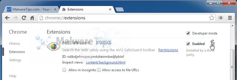 [Image: AVG Secure Search Chrome extension]