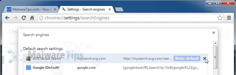 [Image: AVG Secure Search Chrome removal]