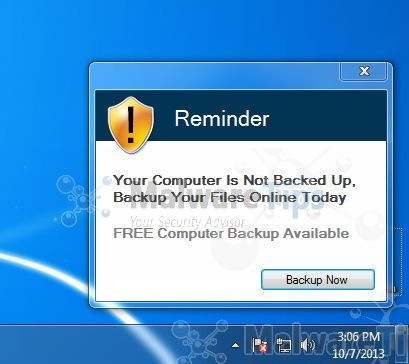 [Image: Reminder! Your computer is not backed up virus]