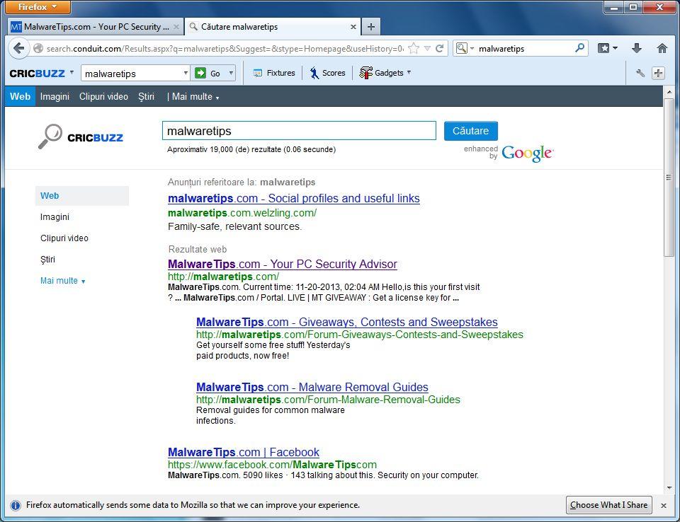 [Image: CricBuzz Customized Web Search]