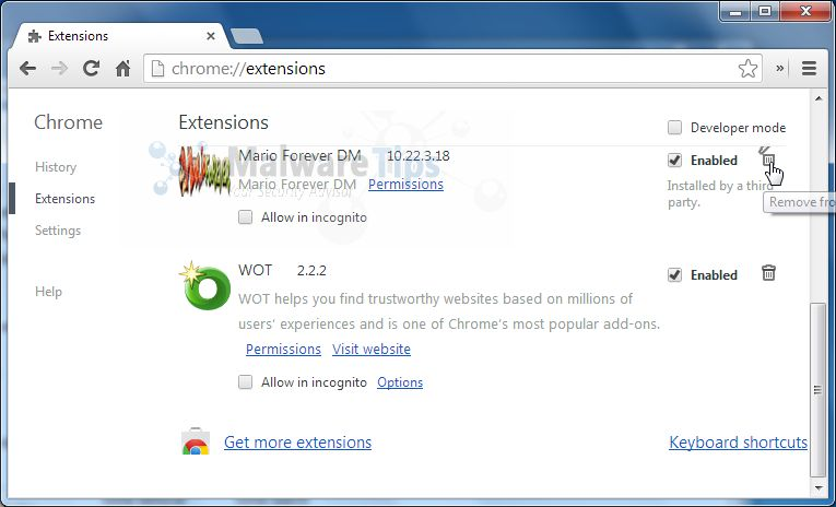 how to delete extensions on chrome forever
