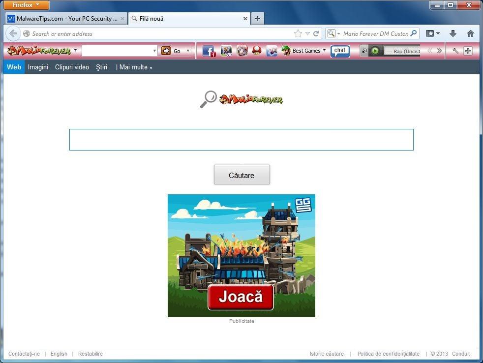 [Image: Mario Forever Toolbar virus]