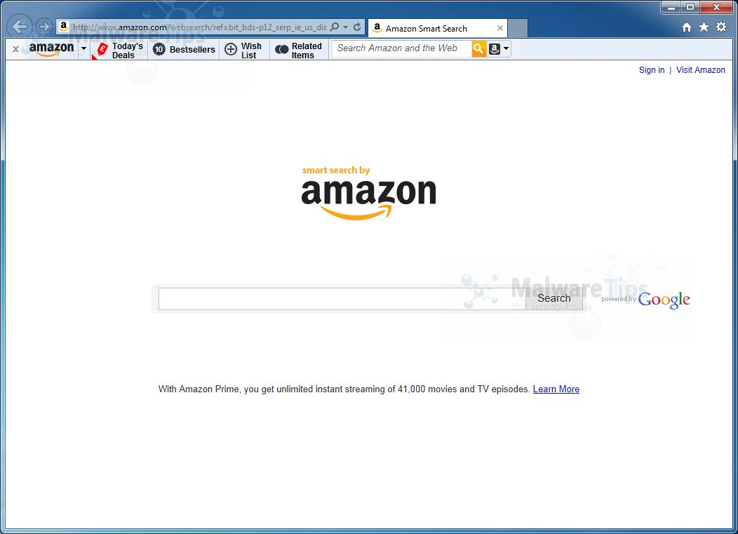 [Image: Amazon Smart Search homepage]