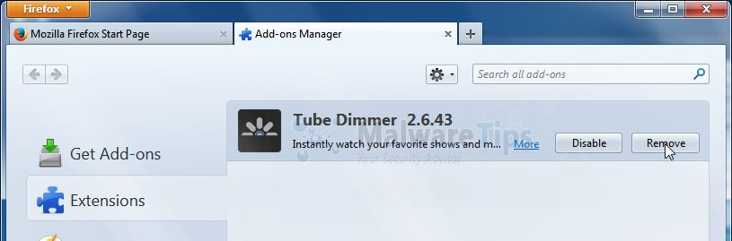 [Image: Tube Dimmer Firefox extension]