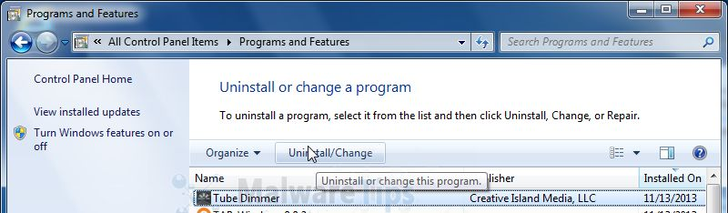 [Image: Uninstall Tube Dimmer program from Windows]