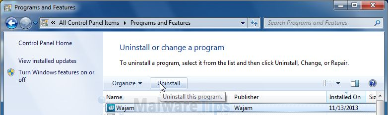 [Image: Uninstall Wajam program from Windows]