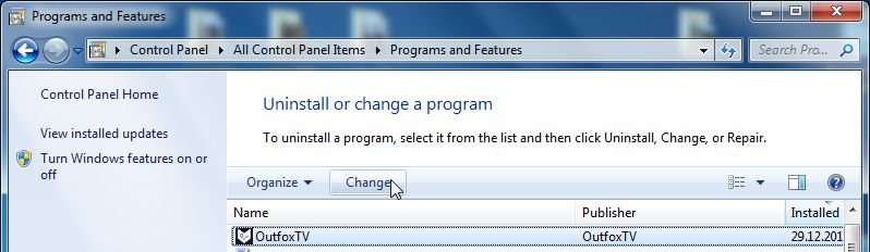 [Image: Uninstall the Outfox.TV program from Windows]