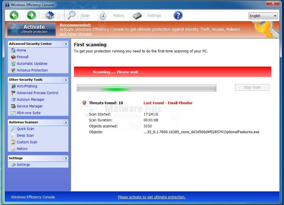[Image: Windows Efficiency Console virus]